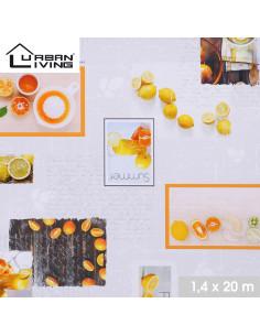 FORNORD Toile cirée décor agrumes Rouleau l.140 cm x L.20 m à la découpe, prix au mètre linéaire