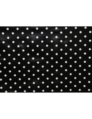 FORNORD Toile cirée décor pois noir Rouleau l.140 cm x L.20 m à la découpe, prix au mètre linéaire