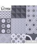 FORNORD Toile cirée décor mosaïque grey Rouleau l.140 cm x L.20 m à la découpe, prix au mètre linéaire