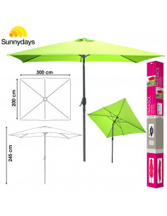 FORNORD Parasol inclinable 2 x 3 m aluminium et polyester anis 200 gr/m²