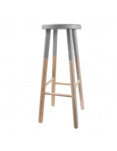 FRANDIS Tabouret rond en bois H.72 cm bicolore gris