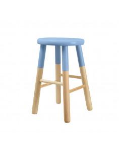 FRANDIS Tabouret rond en bois H.45 cm bicolore bleu