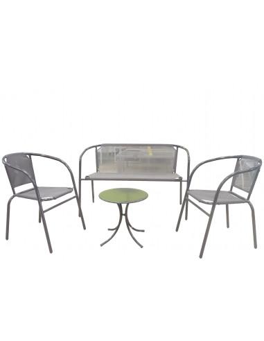 Salon de jardin 4 places 2 fauteuils + 1 banc + 1 table basse Acier/Textilène