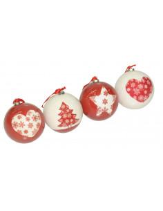 Boule de Noël décoré en papier Ø 8 cm