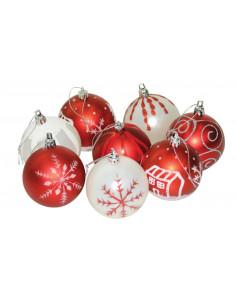 Boule de Noël rouge et blanche décorée Ø 7 cm