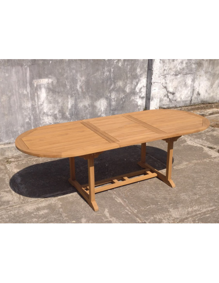 PASCAL JR PILLET Table de jardin ovale extensible en teck 180/240 x 100 x h.75 cm