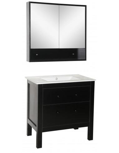 MARKET Ensemble Meuble de salle de bain + vasque + miroir laqué noir