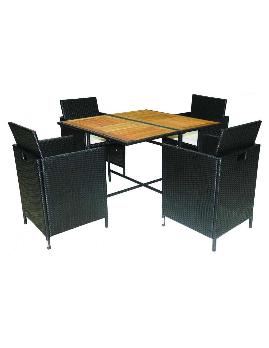 Ensemble Salon De Jardin 4 Fauteuils 1 Table 5pcs