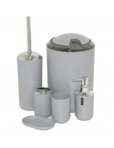 Set accessoires de salle de bain gris