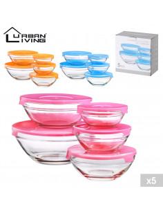 FORNORD Boîte hermétique en verre x5 avec couvercle PVC 3 couleurs assorties