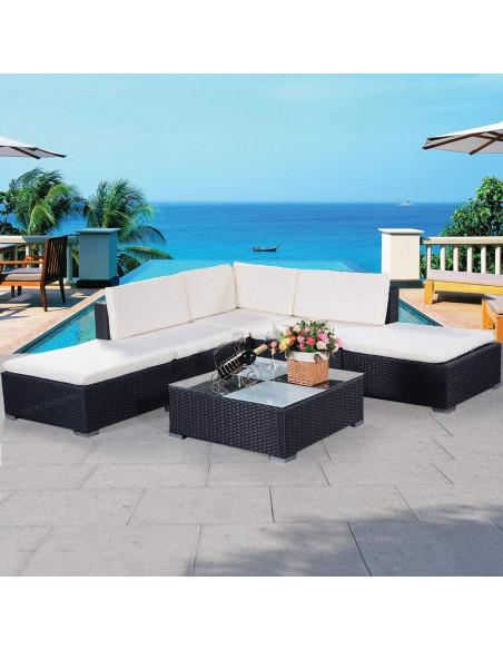 MARKET Ensemble salon de jardin + table rotin synthétique 1115