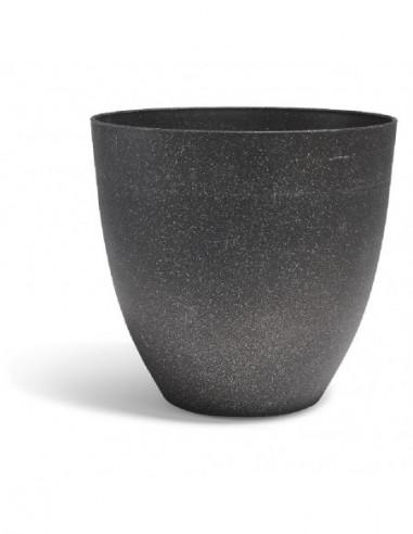 Cache pot effet granit gris foncé et...