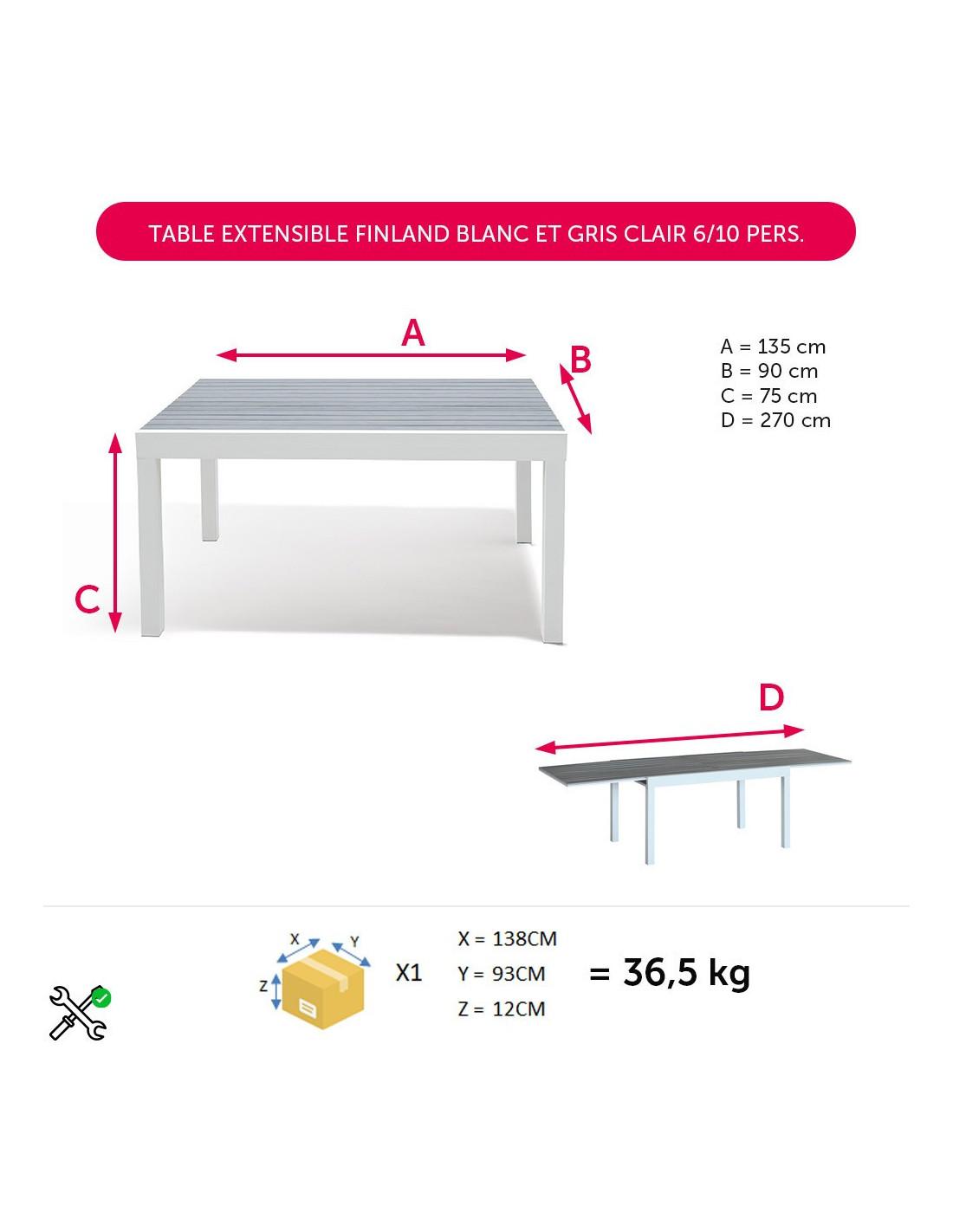 Table Extensible Finland Blanc Et Gris Clair 6/10 Personnes