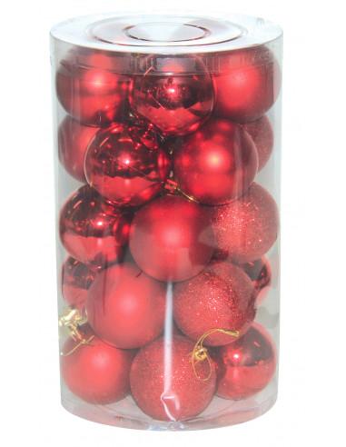 MARKET Set 24 boules de Noël rouges -...