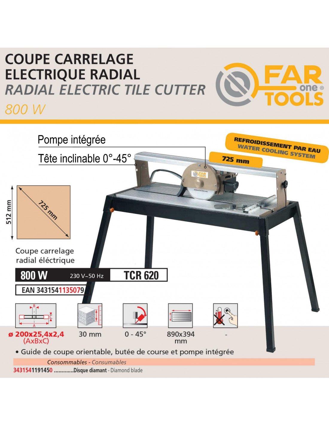 Mejix CMER 230B Coupe-carreaux radial 1200 W Rouge