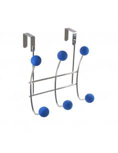FRANDIS Patère de porte 6 têtes métal chromé bleu 22 x 9 x 23.5 cm