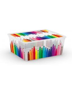 KIS Boîte de rangement plastique C BOX STYLE M Pencils 34 x 40 x 17 cm 18L