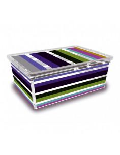 KIS Boîte de rangement plastique C BOX STYLE S Bayadère 26 x 37 x 14 cm 11L