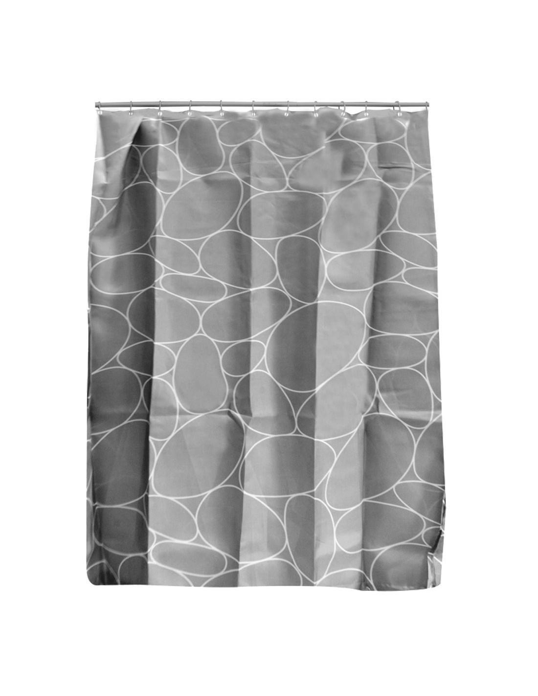 frandis rideau de douche polyester galet gris 180x200cm hyper brico. Black Bedroom Furniture Sets. Home Design Ideas