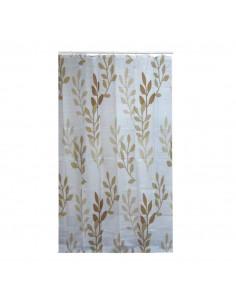 FRANDIS Rideau de douche polyester feuilles beige/brun 180x200cm