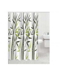 FRANDIS Rideau de douche polyester tige bambou 180x200cm