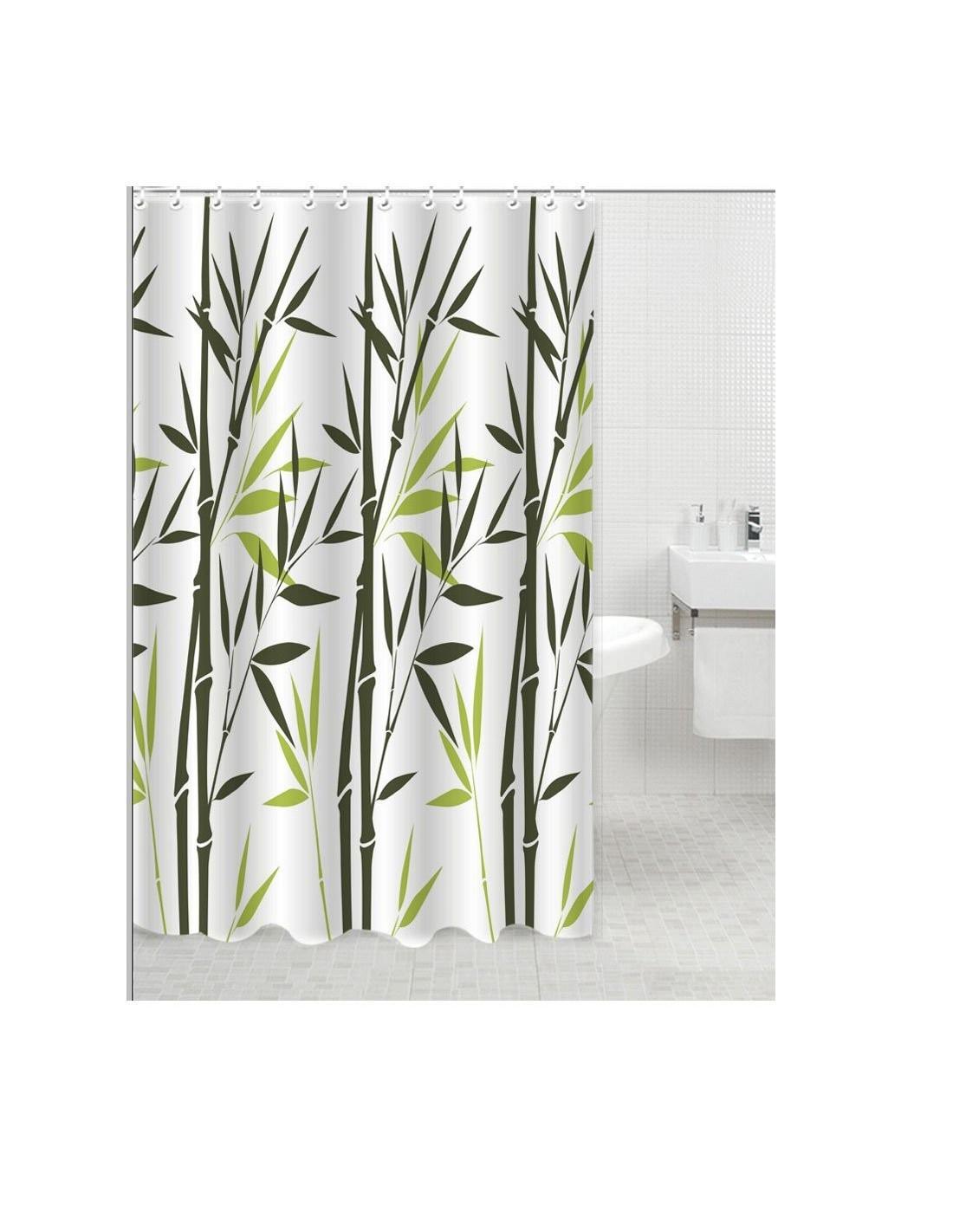 Frandis rideau de douche polyester tige bambou 180x200cm hyper brico - Rideau de douche bambou ...