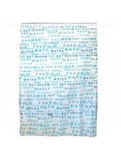 FRANDIS Rideau de douche polyester blanc texte bleu 180x200cm