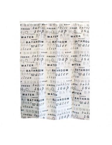 FRANDIS Rideau de douche blanc texte gris/noir 180x200cm