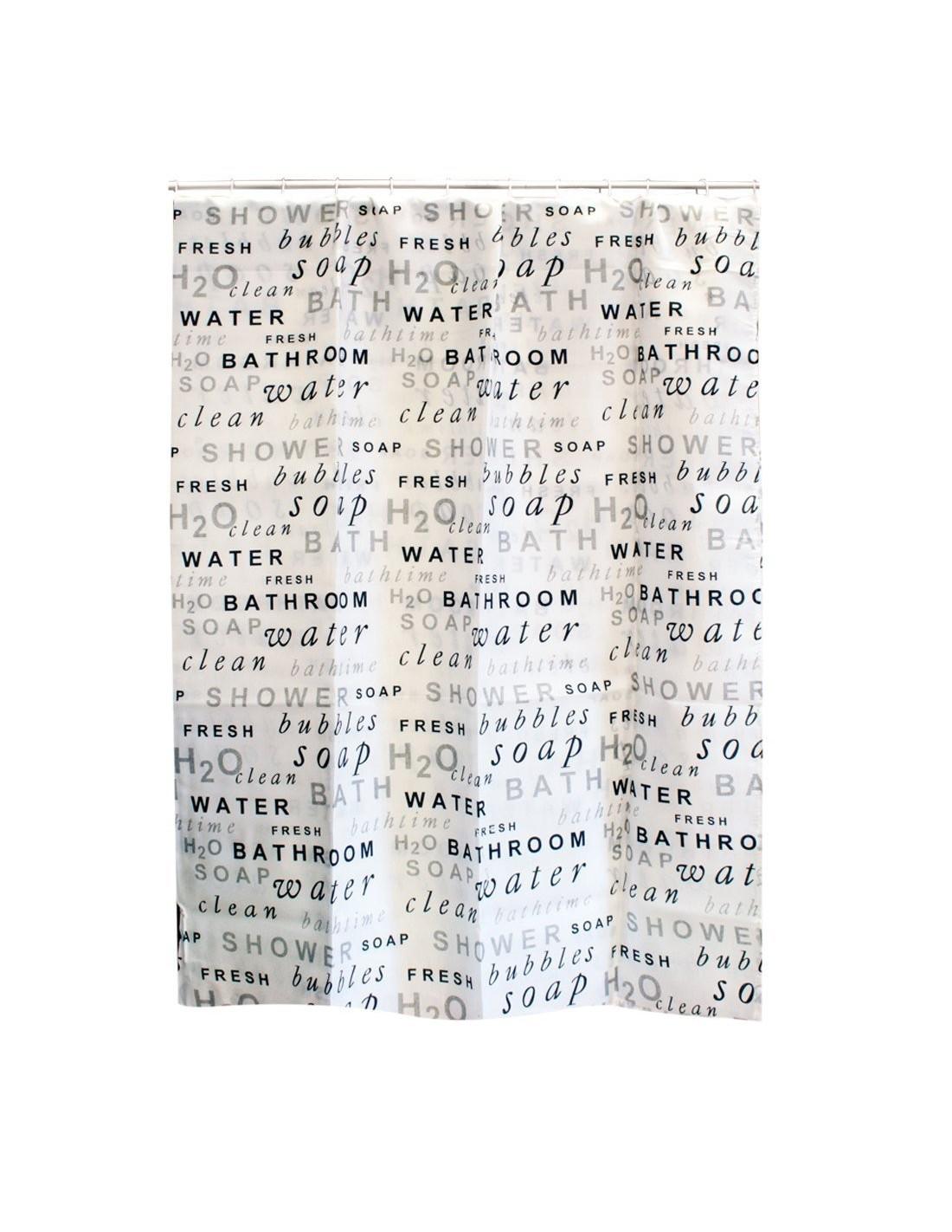 frandis rideau de douche blanc texte gris noir 180x200cm. Black Bedroom Furniture Sets. Home Design Ideas