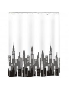 FRANDIS Rideau de douche polyester city gris/noir/blanc 180x200cm
