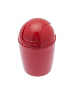 FRANDIS Mini-Poubelle de Salle de Bain Plastique Rouge/Cerise 1,3L 12,5x12,5x19cm
