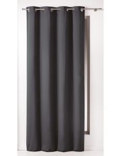DOUCEUR D'INTERIEUR Rideau avec Œillets Panama Coton Noir 140 x 240 x 240 cm