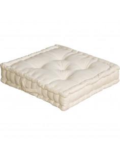ENJOY HOME Coussin de sol avec poignée 50 x 50 x 10 Ecru Coton