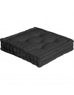 ENJOY HOME Coussin de sol avec poignée 50 x 50 x 10 Noir Coton