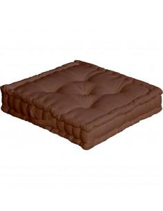 DECOSTARS Coussin de sol avec poignée Coton 50 x 50 x 10 cm Chocolat