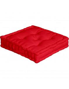 ENJOY HOME Coussin de sol avec poignée 50 x 50 x 10 Rouge Coton