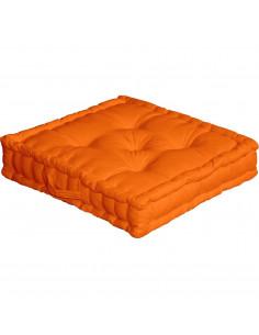 ENJOY HOME Coussin de sol avec poignée 50 x 50 x 10 Orange Coton