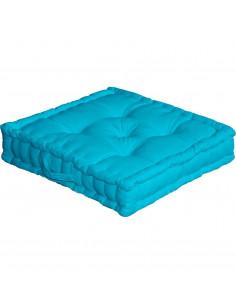 DECOSTARS Coussin de sol avec poignée Coton 50 x 50 x 10 cm Turquoise